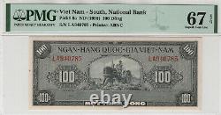 1955 100 Dong South Viet Nam National Bank Pick 8a Pmg Superb Gem 67 Epq Top Pop