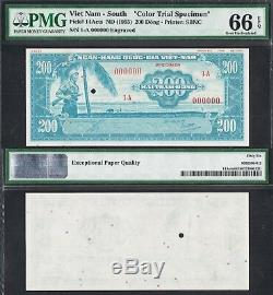 1955 SOUTH VIETNAM 200 DONG P-14Acts PMG 66/67 EPQ UNIFACE PROOF SPECIMEN