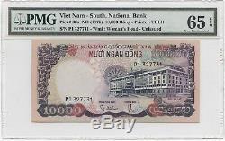 1975 South Viet Nam 5000 & 10000 Dong Notes ORIGINALS PMG Graded 65 GEM Unc
