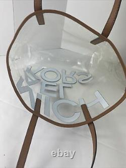 New Michael Kors Tote Bag Large North South Clear Transparent MK Brown Logo B2V
