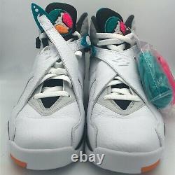 Nike Air Jordan VIII 8 Retro South Beach White Teal Pink OG 305381-113 Multi SZ
