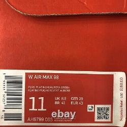 Nike Air Max 98 South Beach White Black Pink Green Women Shoes Sz 11 AH6799-065