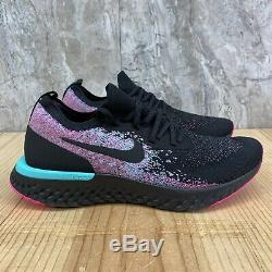 Nike Epic React Flyknit South Beach Size 10.5 Mens Black Pink Running Shoes