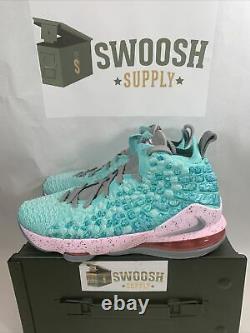 Nike LeBron James XVII 17 GS Sz 7Y South Beach Aqua Pink BQ5594-444