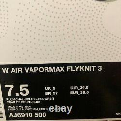 Nike Womens Air Vapormax Flyknit 3 Plum Chalk South Beach AJ6910 500 Size 7.5