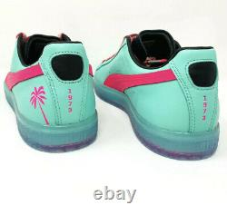 Puma Clyde 1973 South Beach Miami Palm Tree Leather Teal Green Pink Mens Size 12