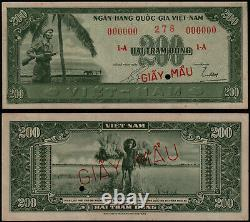 SOUTH VIETNAM 200 DONG (P14s) N. D. (1955) SPECIMEN GIAY MAU A1 000000 GEF