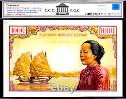 SOUTH VIETNAM P4 1000 DONG 1956 OLD MAN NOTE CGC 67's RARE BANK NOTE MONEY