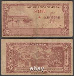 South Vietnam 5 Dong ND 1955 (VG-F) Condition Banknote P-13 RED STAR
