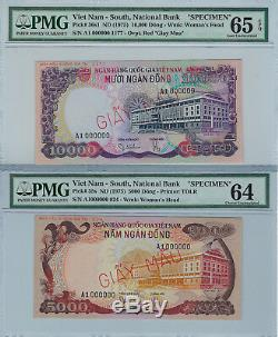South Vietnam PAIR! 5000 and 10,000 Dong (1975) Pick 35s 36s1 Specimens reduced