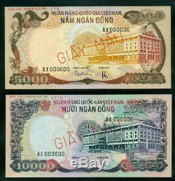 South Vietnam Specimen 5.000 & 10.000 Dong ND (1975) UNC Pair