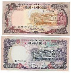 Süd South Vietnam 5000 10000 Dong 1975 P 35 36