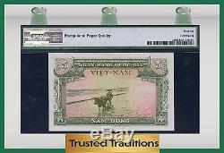 TT PK 2a 1955 VIETNAM SOUTH, NATIONAL BANK 5 DONG PMG 66 EPQ GEM UNCIRCULATED