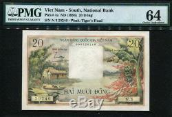 Viet Nam South 1956, 20 Dong, N3-20240, P4a, PMG 64 Original UNC