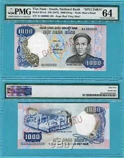 Vietnam South 1000 Dong P34As1 ND(1975) UNC Specimen Giay Mau / PMG graded 64