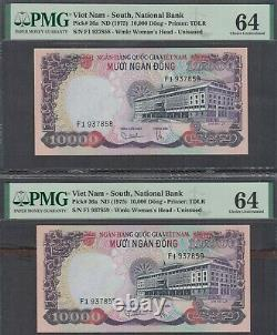 Vietnam South 5000 & 10000 Dong P-35a&36a ND 1975 Lot of 2 Consec. Sets PMG 64