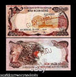 Vietnam South 5000 5,000 Dong P35 1975 Specimen Unc Tiger Animal Money Note