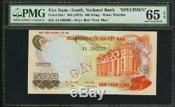 Vietnam South Specimen 1970 500 DONG P. 28s1 Ovpt. GIAY MAU PMG 65 EPQ