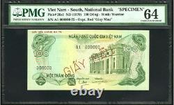 Vietnam South Specimen 1970 Set of 3 notes 100, 200 & 500 Dong PMG 64 65