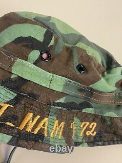 Vtg Vietnam War ARVN ERDL Camo Field Hat South Advisor bush RARE Original 1970s