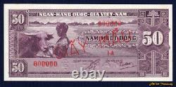 1952 South Vietnam Specimen P-7s 50 Dong Banknote Ovpt Giay Mau Crisp Au/unc