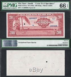 1955 South Vietnam 200 Dong P-epq 14acts Pmg 66-67 Uniface Proof Specimen