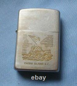 1969 Zippo Briquet Parris Island South Carolina Usmc Vietnam Période