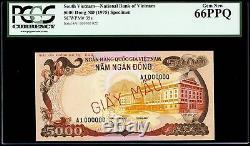 5000 Dong 1975 Specimen Banque Nationale Du Sud Viet Nam Pcgs Gem New 66 Ppq