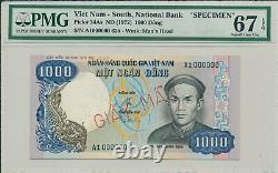 Banque Nationale Du Viet Nam Du Sud 1000 Dong (1972) Echantillon A1 000000 Pmg 67epq