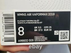 Femmes Nike Air Vapormax 2019'south Beach' Chaussures Taille 8 Blanc Rose Ar6632-005