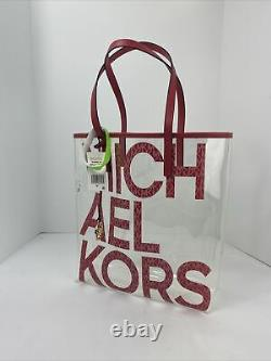 New Michael Kors Tote Bag Large North South Clear Transparent Mk Red Berry B2k