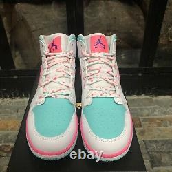 Nike Air Jordan 1 MID South Beach Gs Taille 5y-7y 555112-102 Blanc Rose Soar Vert