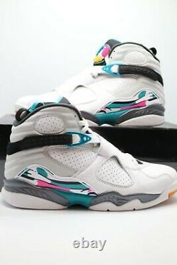 Nike Air Jordan 8 Rétro South Beach Basketball Shoe White 305381-113 Taille 10,5