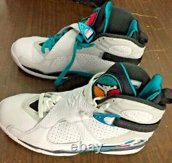 Nike Air Jordan VIII 8 Retro South Beach White Sarcelle Rose Og 305381-113 Taille 9