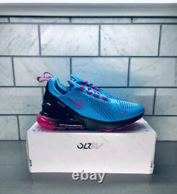Nike Air Max 270 South Beach Blue Fury Laser Fuchsia Sz 10 Chaussures Bv6078-400