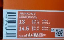 Nike Air Max 90 G South Beach Vice Hot Punch Chaussures De Golf Blanc Cu9978-133 Sz 13