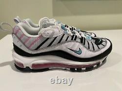 Nike Air Max 98 South Beach White Pink Pink Green Chaussures Femmes Sz 6.5 Ah6799-065