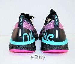 Nike Epic React Flyknit South Beach Noir Chaussures De Course Sz 10 Nouveau Bv1572 001