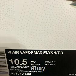 Nike Femmes Air Vapormax Flyknit 3 Plum Chalk South Beach Aj6910 500 Taille 10,5