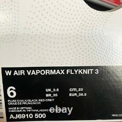 Nike Femmes Air Vapormax Flyknit 3 Plum Chalk South Beach Aj6910 500 Taille 6