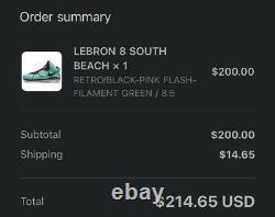 Nike Lebron 8 VIII Qs South Beach Retro Rose Cz0328-400 Sz 8.5 Ordonnance Confirmée