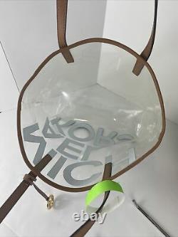 Nouveau Michael Kors Tote Bag Grand North South Clear Transparent Mk Brown Logo B2v