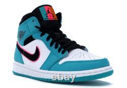 Nouveau Nike Air Jordan I 1 MID Miami Sud Beach Chaussures Homme Taille 13 852542-306 Fl