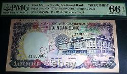Pmg 66, Gem Uncirculated South Vietnam 10 000 Dong