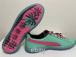 Puma Clyde South Beach Miami Floride Teal Palm Tree Casual Chaussures Hommes Sz 13 Nouveau