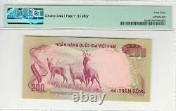 South Vietnam Pick# 32a 200 Dong (1972) Gem Unc /pmg 68 / Top Top