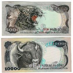 Süd Sud-vietnam 5000 10000 Dong 1975 P 35 36