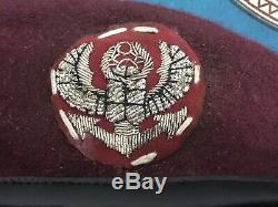 Sud Vietnam 19/07/1967 Navy Seals Officier Original Airborne Béret Rouge Taille 56