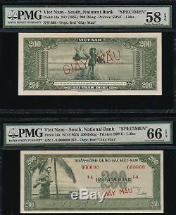 Sud Vietnam Banque Nationale Specimen 200dong Nd (1955) 2pcs Pmg Unc66au58 Epq