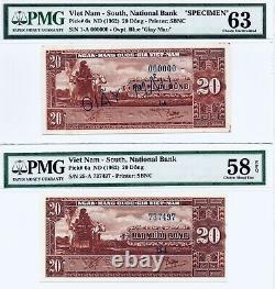 Sud-vietnam, 1962, Pick # 6a + 6as, Pmg63 (specimen) + Pmg58epq, Rares 2 Articles